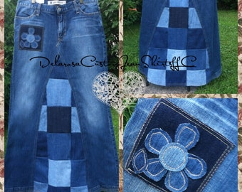 DELAROSA Square Patchwork Long Jean Skirt Custom Your Size  choose your size and length size 0 1 2 4 6 8 10 12 14 16 18 20 22 24 26