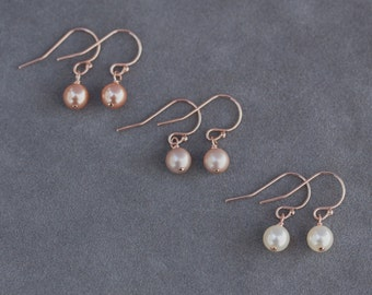 Rose Gold Earrings, Bridal Party Gift Set of 4, Rose Gold Jewelry, Bridesmaids Pearl Earrings