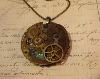 Steampunk Vintage Pocket Watch Gears Necklace