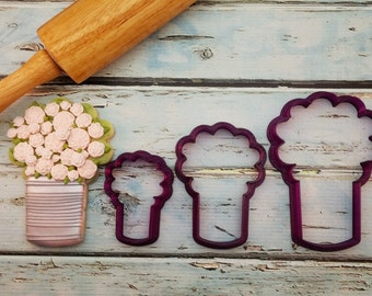 Arty McGoo's Can Bouquet Cookie Cutter and Fondant Cutter and Clay Cutter and Clay Cutter