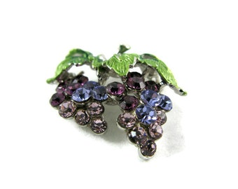 Grapes on a stem, brooch pin with Swarovski crystals