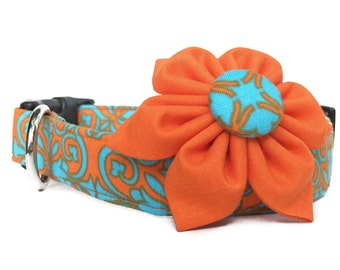 Dog Collar & Flower / Orange Blue Dog Collar / Orange Aqua Collar with Flower / Damask Dog Collar / Orange Dog Collar with Flower
