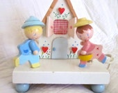 Nursery Lamp Irmi Collectible Night Light Nursery Baby Vintage Nursery Plastics Pink Blue Children Lighting 1950s