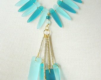 Aqua And Teal Sea Glass Statement Necklace, Tassel Pendant, Boho Chic, Tribal Influence, Bohemian Style, Necklace Set