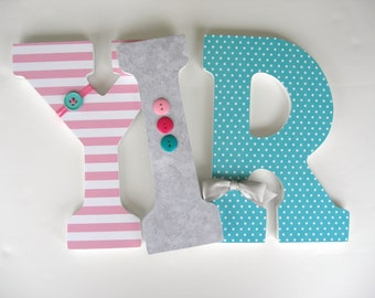 Gray, Pink, and Teal Wooden Letters - Baby Girl Nursery Wall Letters - Wood Wall Decorations