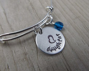 "Daughter Bracelet- Gift for Daughter- Hand-Stamped Bracelet- ""daughter"", stamped heart, and an accent bead of choice"