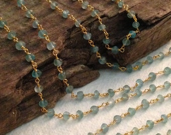 Apatite Beaded GOLD Vermeil Chain - 35.5 Inches  3mm - 4mm Rosary Gemstone Chain CH37-35.5