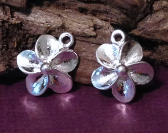 Sterling Silver Plumeria Charms - 2 Pretty Flower Charms - 10mm  C214