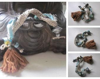 Handmade Boho Charmed Natural Linen Sari Silk Fabric Czech Beaded Bracelet, Tibetan Silver, Handmade, Artisan, Pure, Tassel Bracelet,