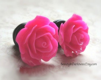 "Rose Plugs for Stretched Ears, Choose your Color, Sizes 3/4"", 5/8"", 9/16"", 1/2"", 00g, 0G, 2G, 4G , 6G, 4mm, 5mm, 6mm, 8mm, 10mm, 12mm, 14mm"