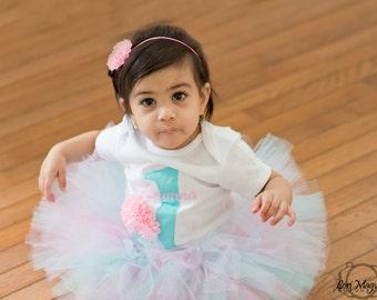 Aqua and Pink Tutu - First Birthday Tutu - Custom Aqua and Pink Tutu