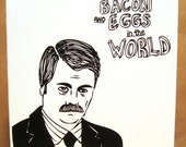INSTANT DOWNLOAD  Valentine's Day Ron Swanson Bacon and Eggs Card