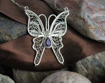 Handcrafted artisan sterling silver filigree butterfly with 3 mm peridot and 8x5 mm amethyst gemstones