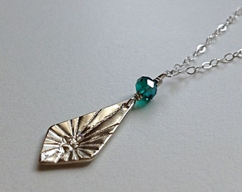 SALE Amelia Sterling Silver Necklace - emerald green glass - enter coupon code SPRINGSALE at checkout to receive 20% off