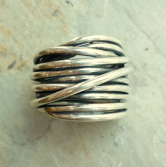 sterling silver ring silver wire wrapped ring wide silver