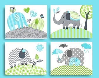 blue green elephant chevron nursery kids art, nursery elephant baby boy  girl children art set