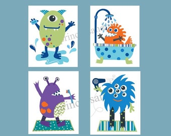 monster bathroom art, children bathroom art prints, monster bath art prints, batroom rules, monster prints