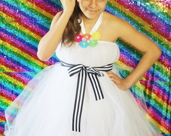 Spring Unsprung Tutu Dress created for an Everafter High Party | Rainbow Tutu Dress | Rainbow Tutu | White Tutu Dress | Everafter High Tutu