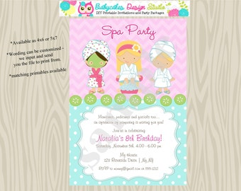 Spa Party-birthday-Invitation-invite-spa birthday party-Choose Your Girls-Printable-DIY
