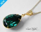 Emerald Green Crystal Necklace Swarovski Emerald Rhinestone Gold Necklace Dark Green Teardrop Necklace Emerald Gold Wedding Bridal Jewelry