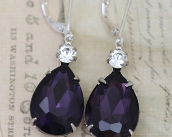 Dark Purple Crystal Earrings Silver Earrings Pear Shape Teardrop Silver Dangle Earrings Bridesmaid Earrings Bridal Party Gift Clip Ons Avail