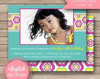 Printable Floral Birthday Party Invitation, Floral Birthday Party Invite, Flower Party - Floral Fun in Teal, Fuchsia and Yellow
