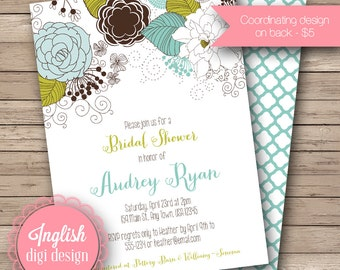 Whimsy Floral Bridal Shower Invite, Printable Floral Bridal Shower Invitation, Flower Bridal Shower Invite - Floral in Green, Brown, Blue