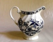 English China Cream Pitcher, Blue and White Floral Onion design