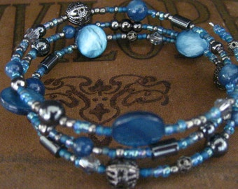 Wrapped Beaded Memory Wire Bracelet in Cerulean Blue and Hematite