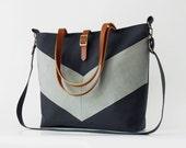 LARGE, Bluegray linen chevron, Dark navy tote / diaper bag / shoulder bag with detachable strap  Design by BagyBags