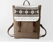 ONLY 1 LEFT, Chocobrown canvas backpack with nordic flap, laptop bag, school bag with leather closure,  Design by BagyBags