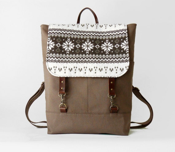 ONLY 1 LEFT. Choco brown canvas, Nordic flap backpack, diaper bag, diaper backpack, school bag,  2 front pockets, Design by BagyBags