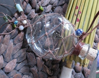 Hemp Wrapped Nautical Float Rum Bottle, Flask-Shaped - Caribbean Castaway Voodoo Pirate Design OOAK