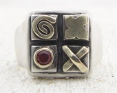 Square Garnet Silver Ring with 14k  Gold  -  Tic - Tac - Toe, Signet Ring