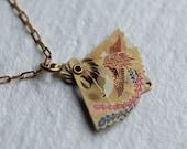 Tiny Japanese Fan Necklace ... Vintage Brass Folding Fan Pendant
