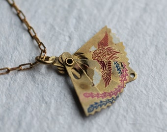 Tiny Japanese Fan Necklace ... Vintage Brass Folding Fan Pendant