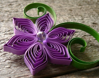 Spring Boutonniere in Purple and Green, Wedding Boutonniere in Clover and Orchid