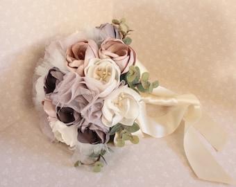 SALE ITEM - Fabric Flower Bouquet, Vintage style Bouquet, Fabric Bouquet, Bridal Bouquet,Bridesmaids Bouquet, Blush Bouquet