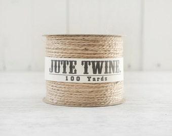 Jute Twine - 100 Yard Spool of Twine, 2-Ply Rustic Craft String - Natural Jute