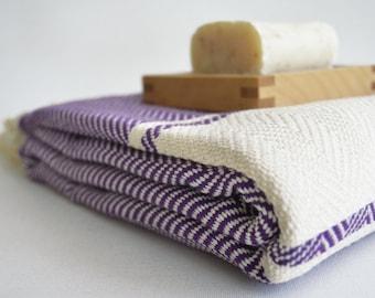 SALE 30 OFF / Herringbone Bathstyle Turkish BATH Towel Handwoven Peshtemal - Beach, Spa, Swim, Pool Towels and Pareo - Purple
