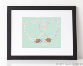 Snail Trails of Love 8x10 Art Print, Valentines Day Gift, Mint Green Wall Art, I Love You, Cute Animal Nursery Art