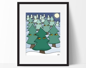 Weird Woods Art Print, Creepy Christmas Tree Forest, Evergreen Pine Wall Art, Wall Decor
