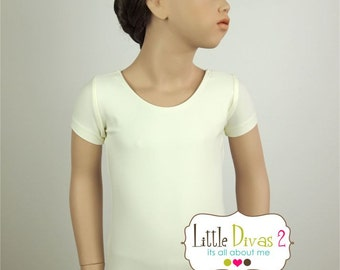 Child (Ivory) Short Sleeve Leotard-Great for Weddings-Off White