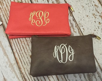 Monogrammed crossbody purse, Monogram wristlet, initials, bridesmaid gift, clutch