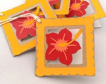 4 Handmade Hibiscus Flower Gift Tags, Orange, Red, Peach, Hawaiian, 3""