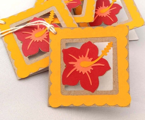 "4 Handmade Hibiscus Flower Gift Tags, Orange, Red, Peach, Hawaiian, 3"""