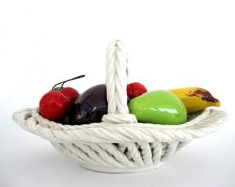 Vintage Ceramic Capodimonte Fruit Basket White Table Centerpiece Italy