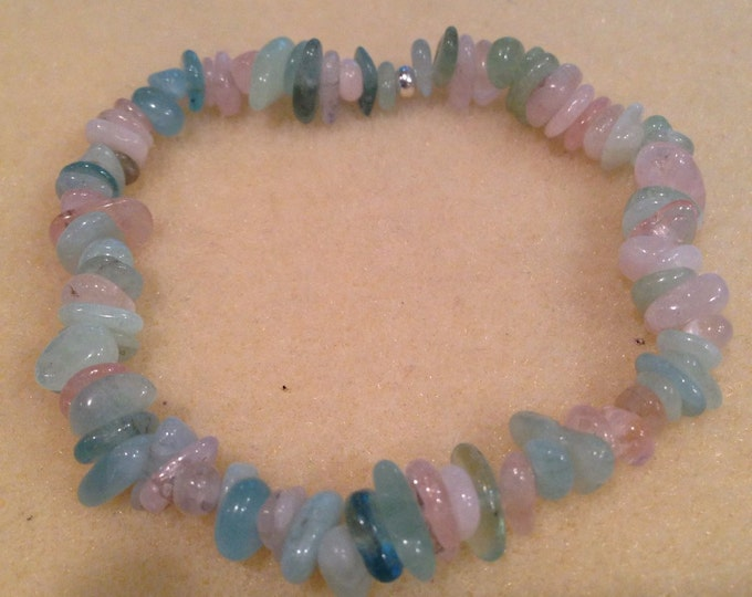 Aquamarine & Morganite Nugget Chip Bead Stretch Bracelet with Sterling Silver Accent