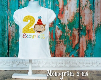 Curious George girls birthday shirt, monkey birthday, monkey