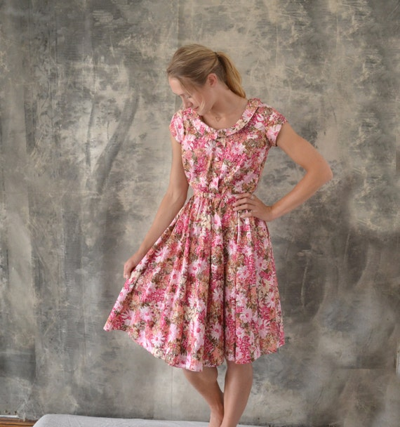 1950s Pink Floral Dress size S